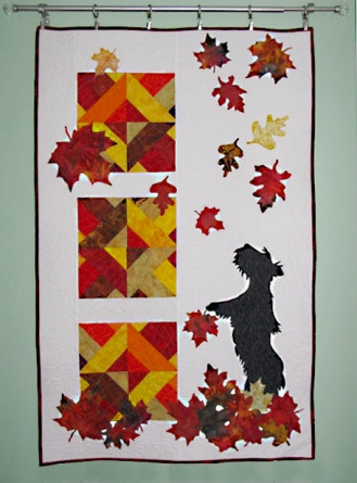 Scottie catching leaves - original design