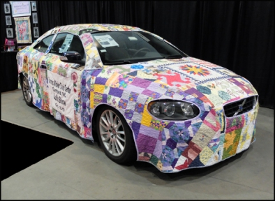 Pieced fabric car cover.