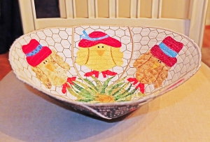 Fabric bowl - red hat chicks - side view
